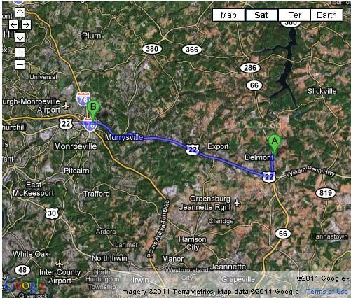 Directions from Delmont to Cochran Subaru of Monroeville