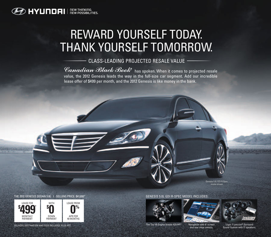 2012 hyundai genesis reward yourself today thank yourself tomorrow 1500 reward for current. Black Bedroom Furniture Sets. Home Design Ideas