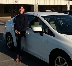 Megan and her new Honda Civic