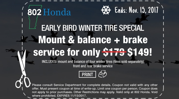 Early Bird Winter Tire and Brake Service Special