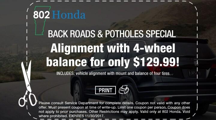 Honda Vehicle Alignment Coupon