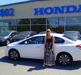 Hannah with her new 2015 Honda Civic EX