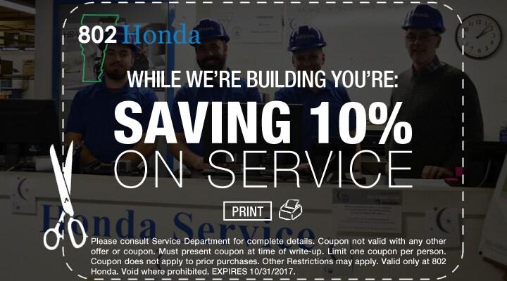 802 Honda  Construction Savings on Service