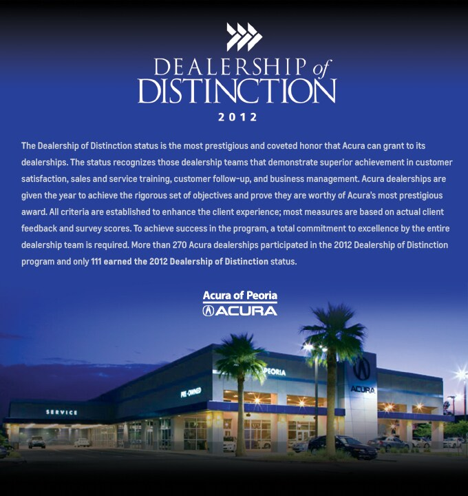 Acura Of Peoria Dealership Of Distinction Award 2012