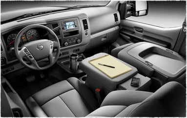 Image: Driver's perspective of interior, passenger seat folded down