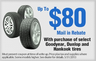 Volkswagen of South Charlotte $80 Mail in Rebate on tires