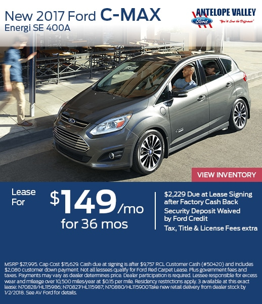 Lease a new 2017 C-MAX Energi for only $149/month at AV Ford in Lancaster