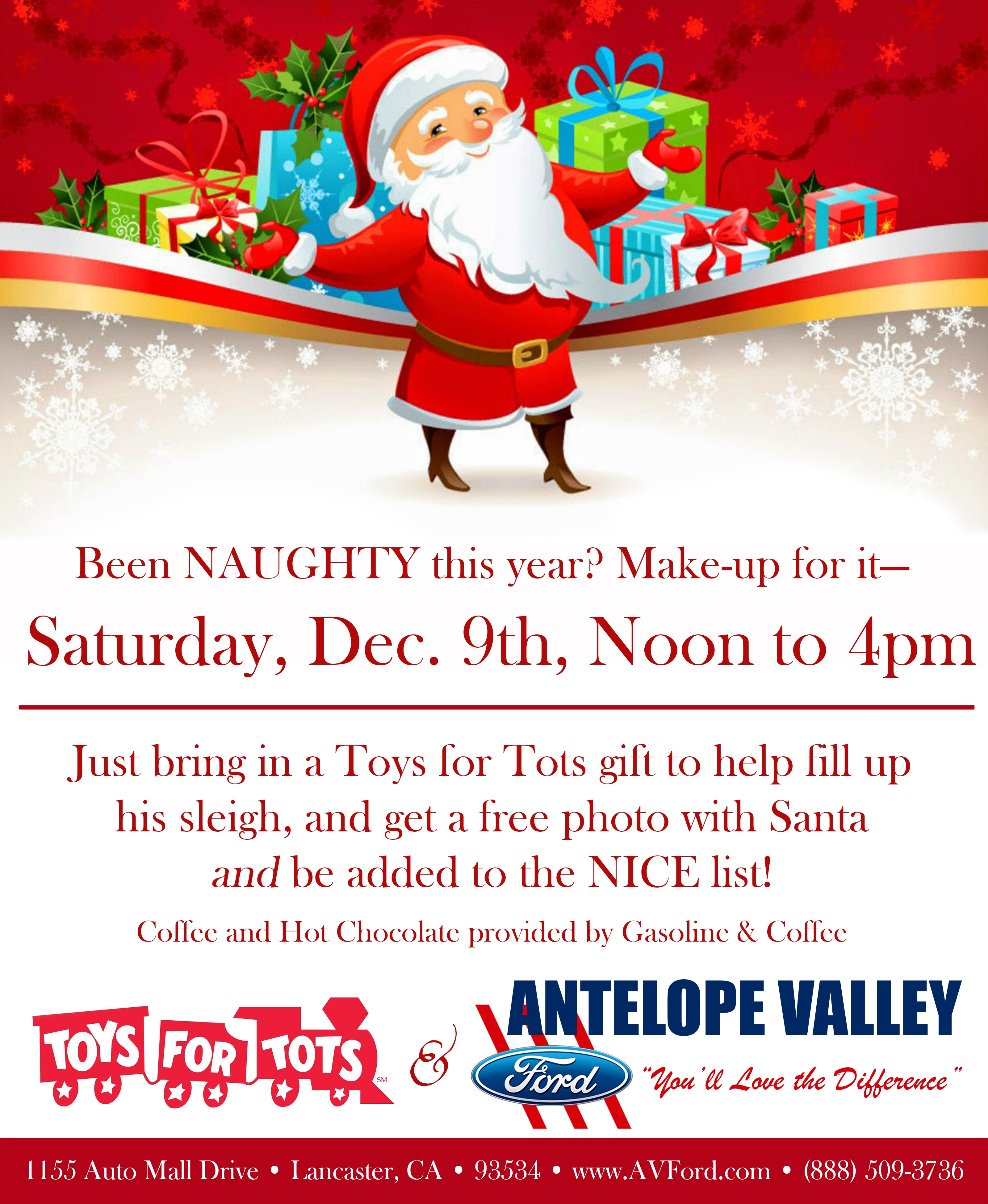 Bring a Toys For Tots donation and get a free photo with Santa at AV Ford