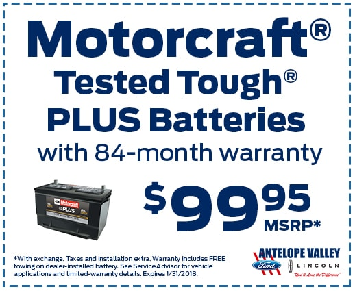 Motorcraft Tested Tough Battery special at the Antelope Valley Ford Parts Department
