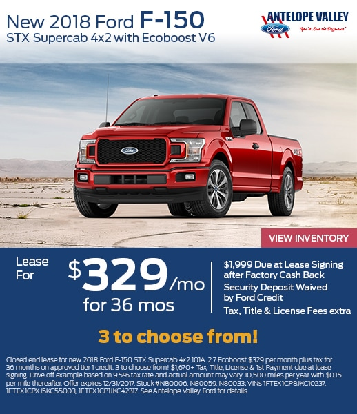 Lease a new 2018 F-150 Supercab for as low as $329 at Antelope Valley Ford