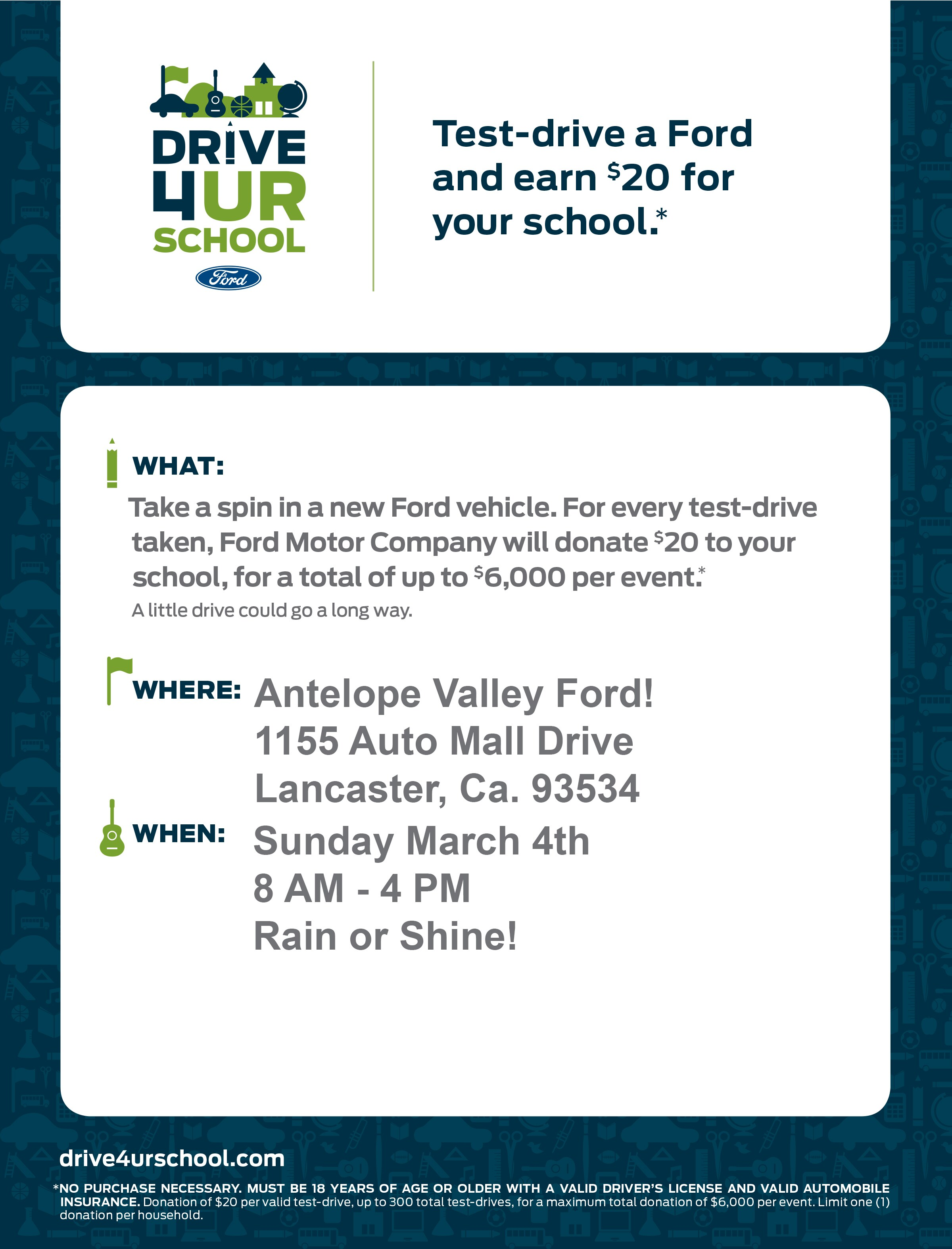Eastside EHS Lions Test-drive a Ford and earn $20 for your school at AV Ford in Lancaster.