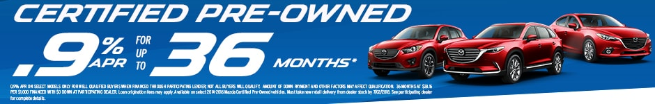 Special APR rates on Certified Pre Owned Used Vehicles at Antelope Valley Mazda