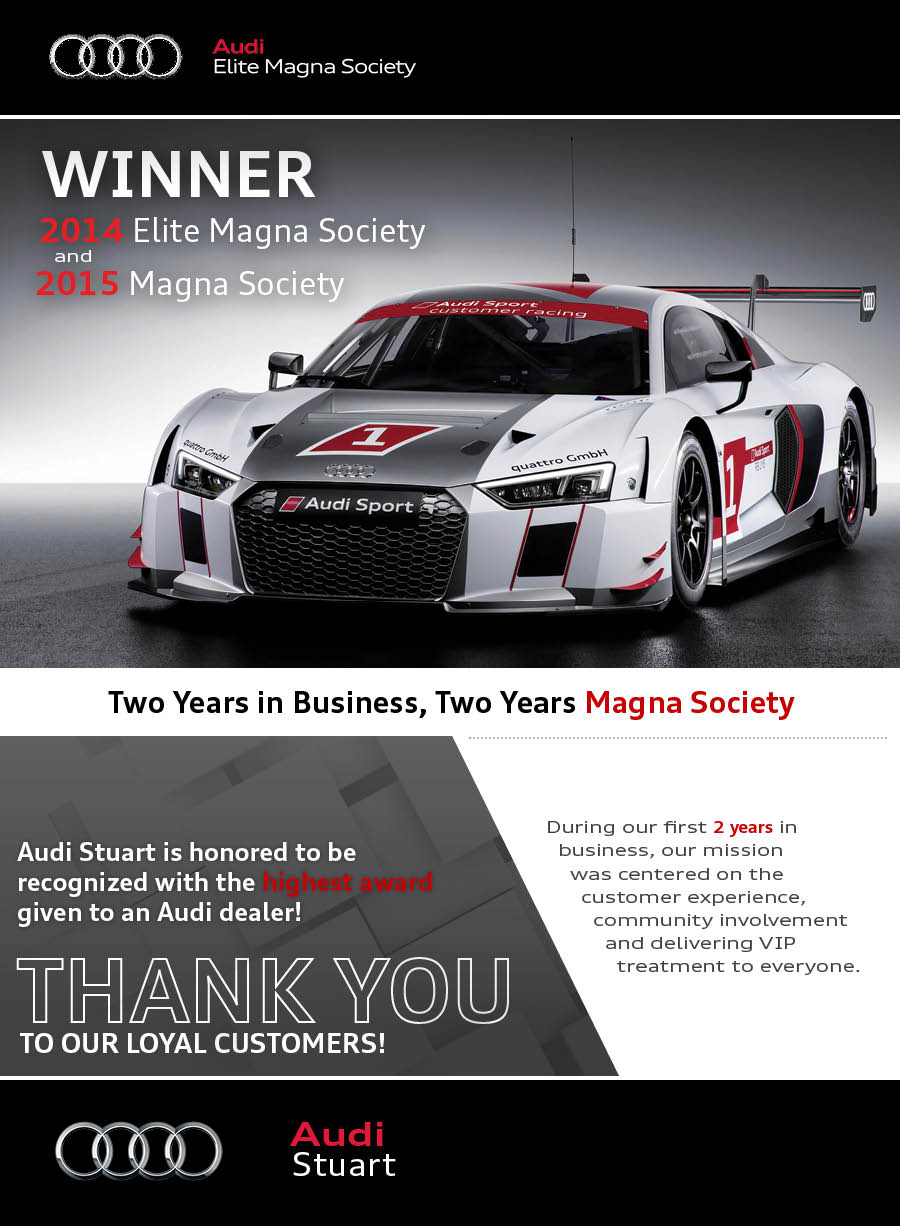 Audi Stuart Magna Society Winner - Audi dealers in south florida