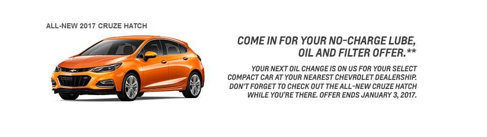 Cruze Hatchback Oil Changes Offer