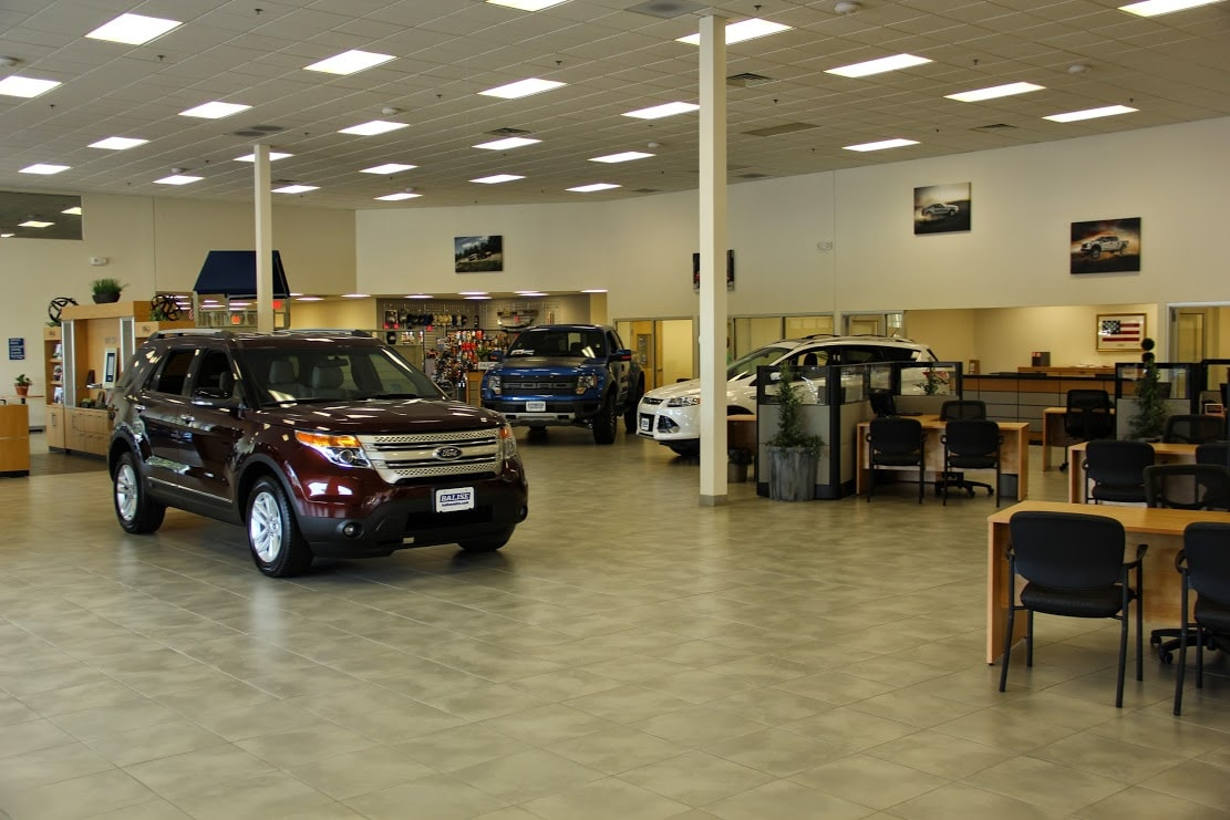 inside the showroom at Balise Ford Cape Cod