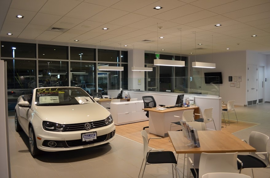 inside the showroom at Balise Volkswagen
