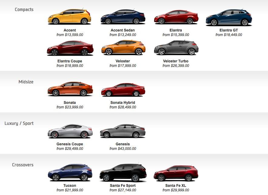 2015 2016 Hyundai Vehicle Lineup Beauport Hyundai