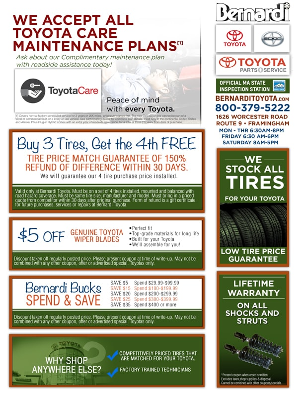 Toyota service coupons massachusetts