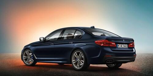 blue 2018 BMW 5-series sedan