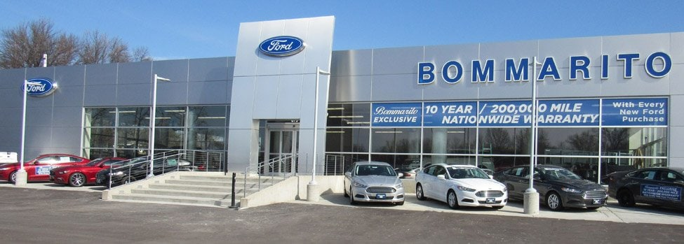 Photo of the front of the Bommarito Ford dealership in Hazelwood, MO