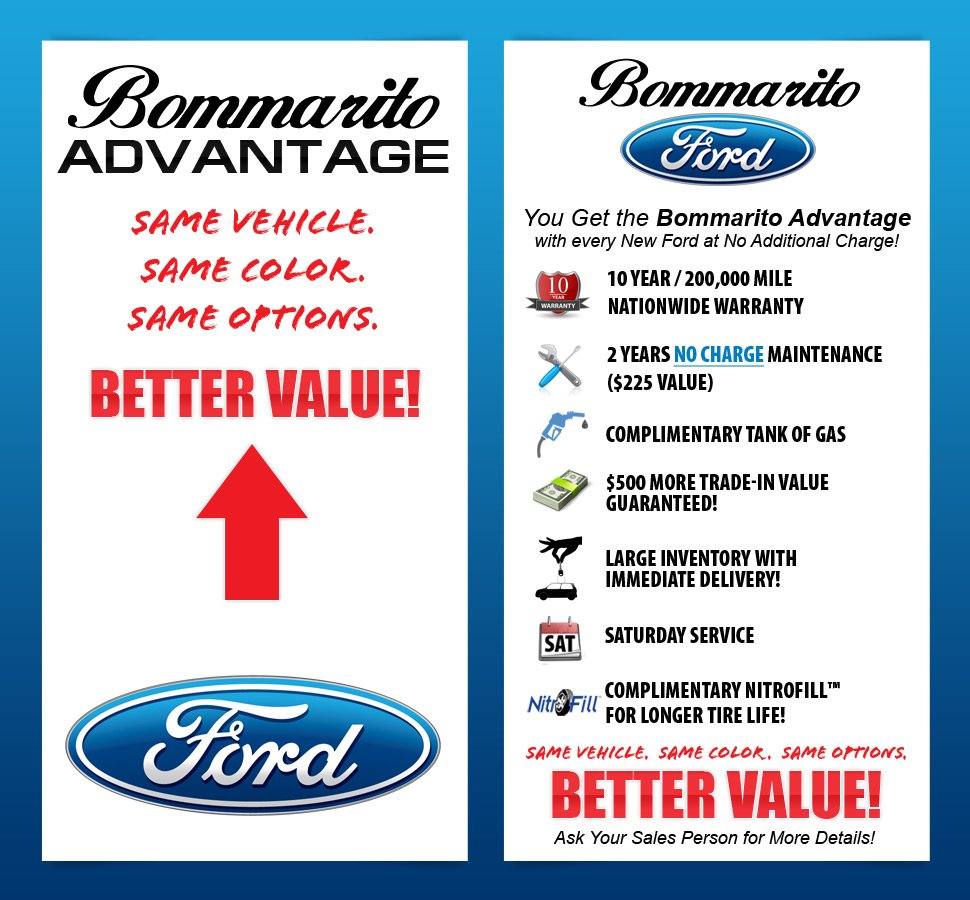 Information about the Bommarito Advantage, including a nationwide warranty and service perks.