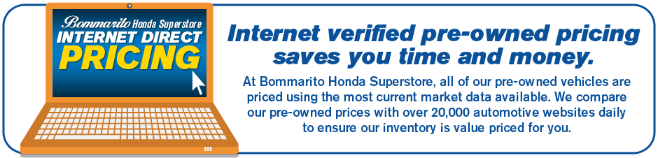 Our Certified Pre-Owned Honda inventory has internet verified pricing to save you time.