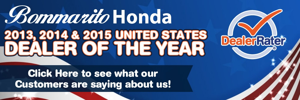 Bommarito Honda is a DealerRater Dealer of the Year for the years 2013-2015.