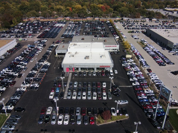 Aerial photo of Bommarito Nissan of Hazelwood dealership.