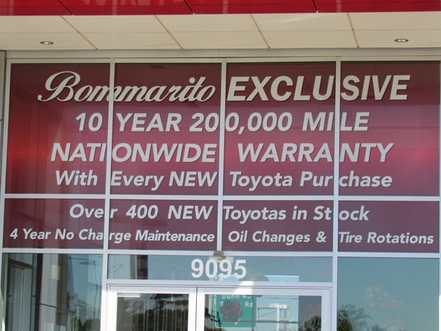 Information about the Bommarito Exclusive 10 year/200,000 mile Nationwide Warranty for new Toyota cars