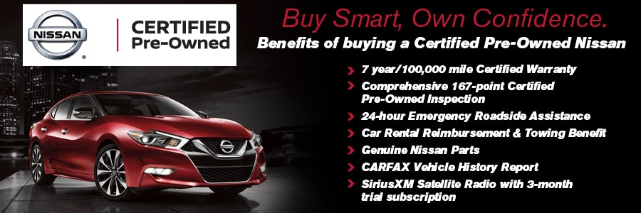 Banner of the benefits of buying a Certified Pre-Owned Nissan.