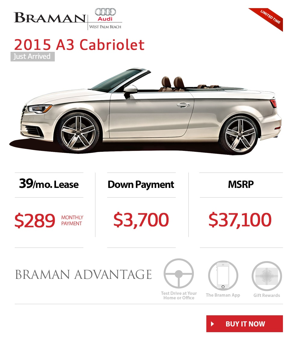 Audi Lease Offer: 2015 Audi A3 Convertible Specials
