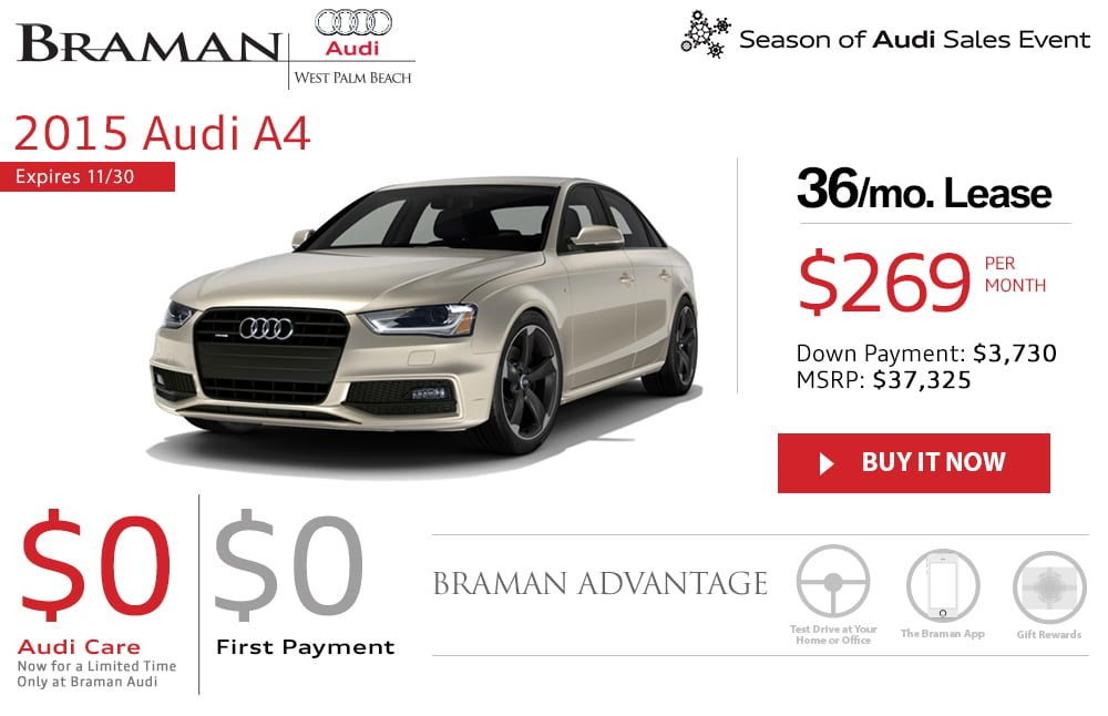new audi a4 lease specials palm beach south florida audi dealership. Black Bedroom Furniture Sets. Home Design Ideas