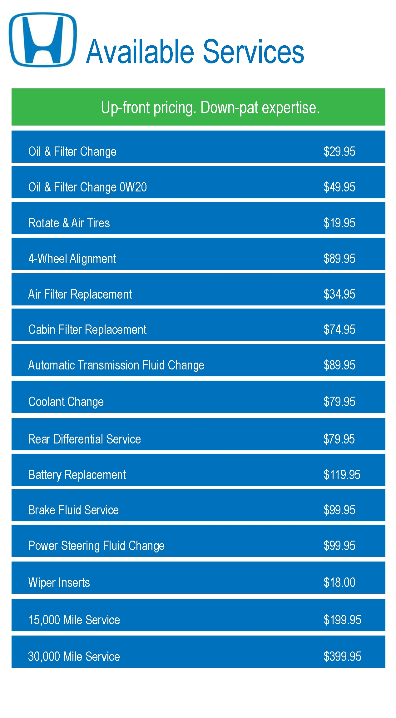 Auto service pricing oil changes tire rotations for Honda dealership oil change price