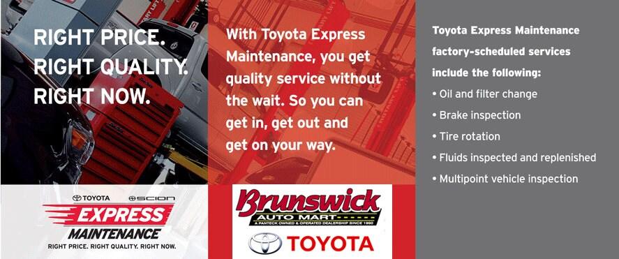 brunswick auto mart toyota express maintenance