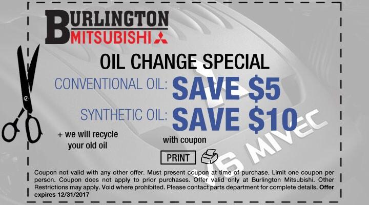 Mitsubishi Oil Change Service Coupon