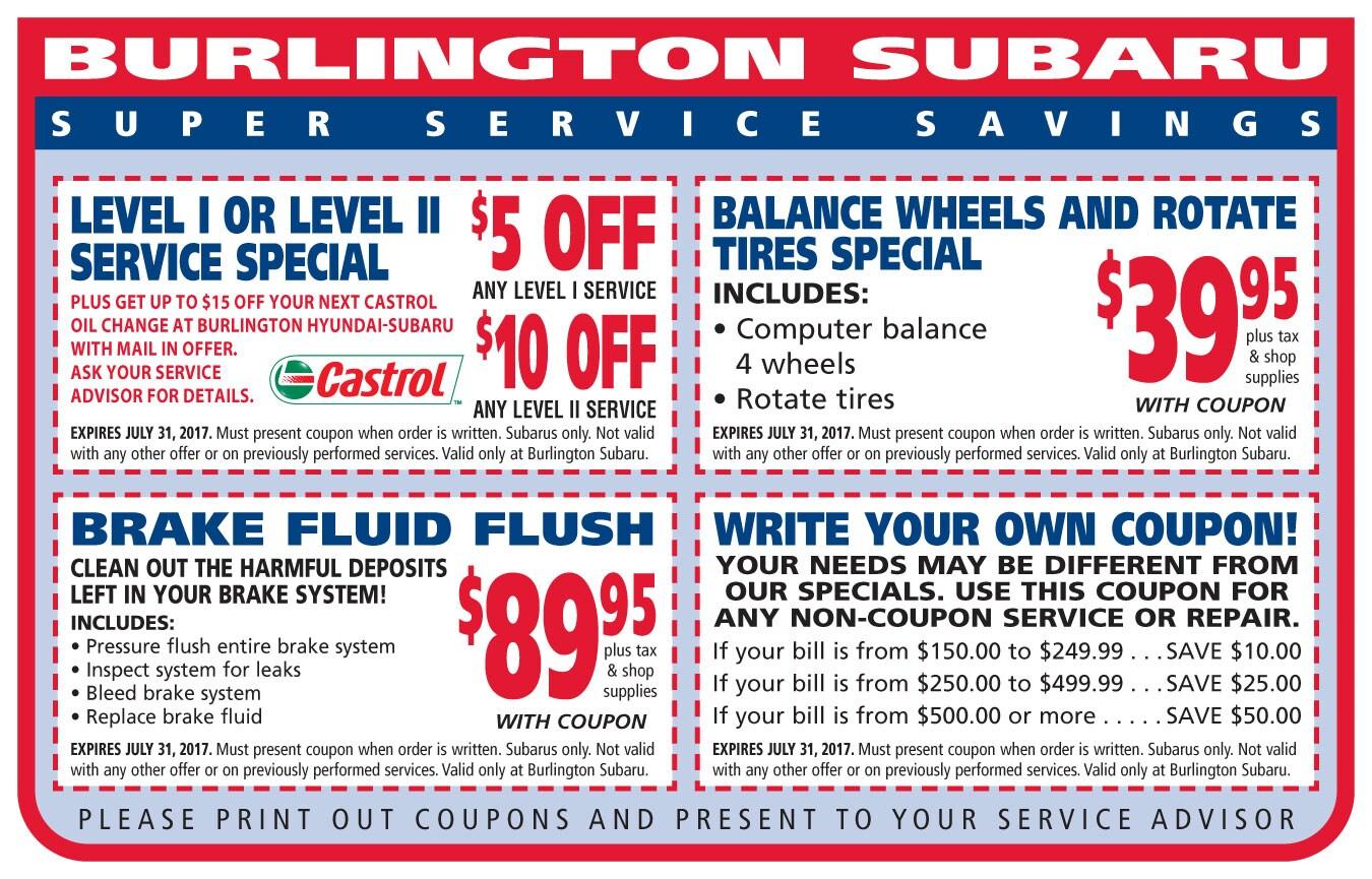 Burlington Subaru Service Coupons