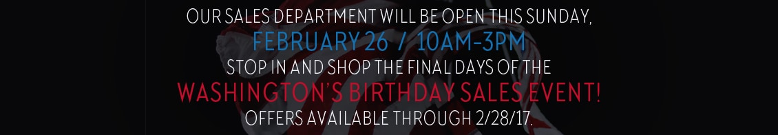 Washington's Birthday Sales Event Hours
