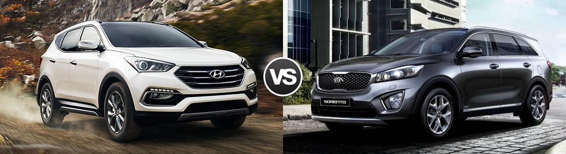 Compare 2017 Hyundai Santa Fe vs Kia Sorento