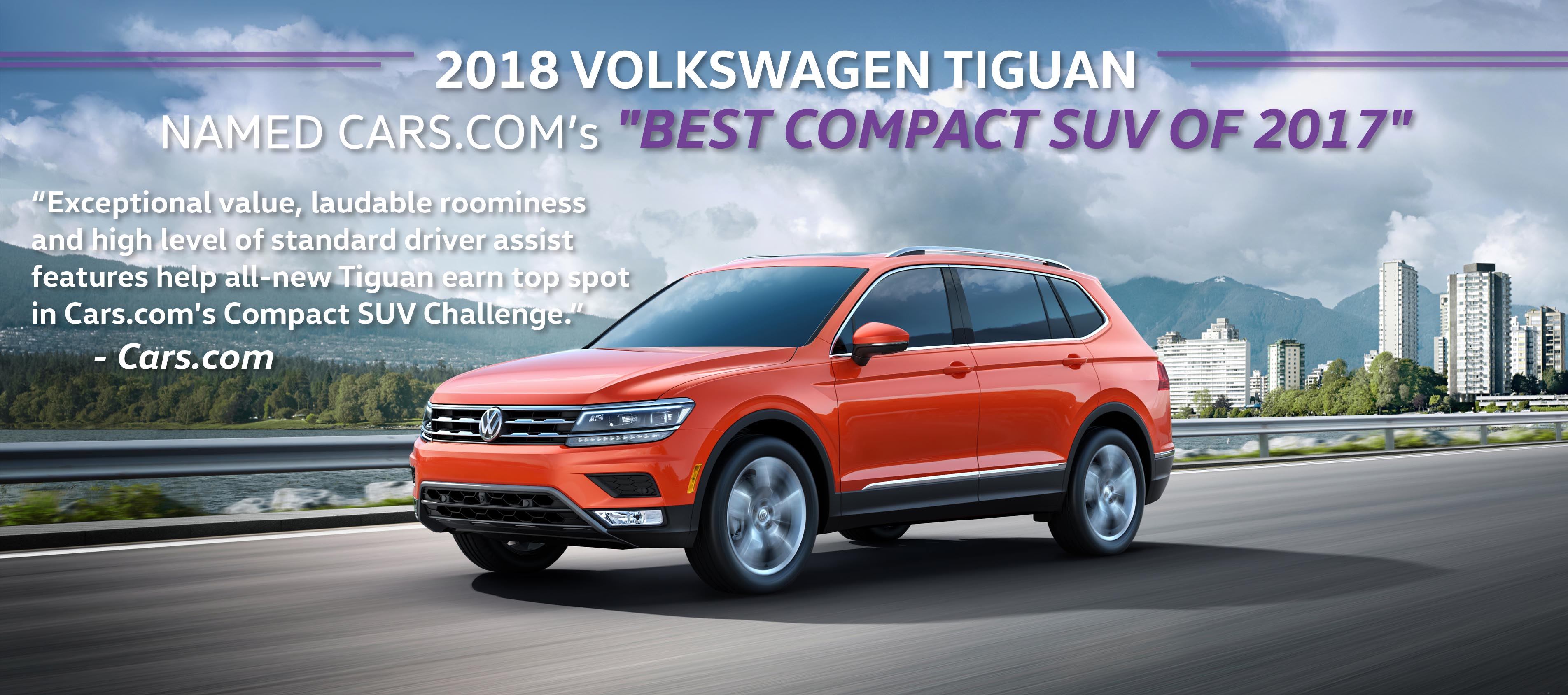 2018 volkswagen tiguan named cars com best compact suv of 2017