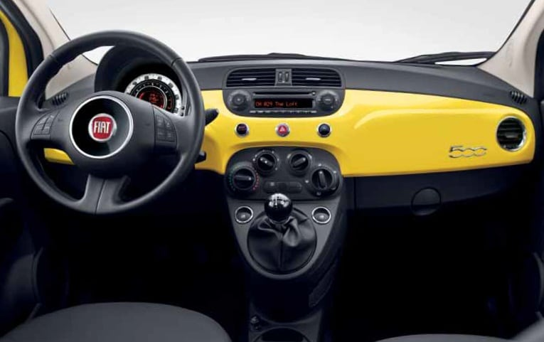 2012 fiat 500 interior yellow