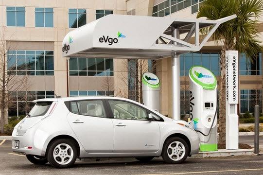 Nissan LEAF charging at EVgo station
