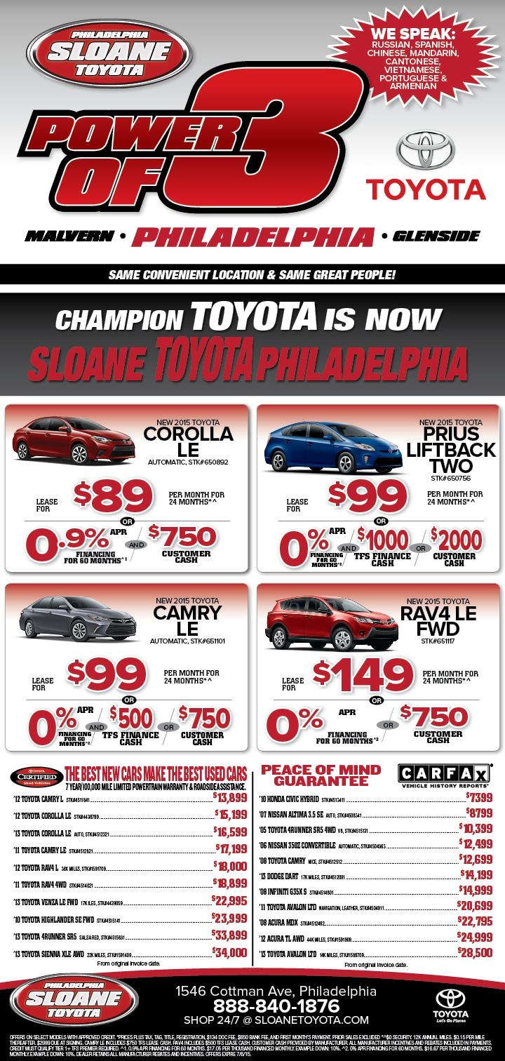 See Our Ads  Sloane Toyota Philadelphia
