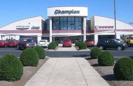 The front of the Champion Chrysler Jeep Dodge Ram dealership