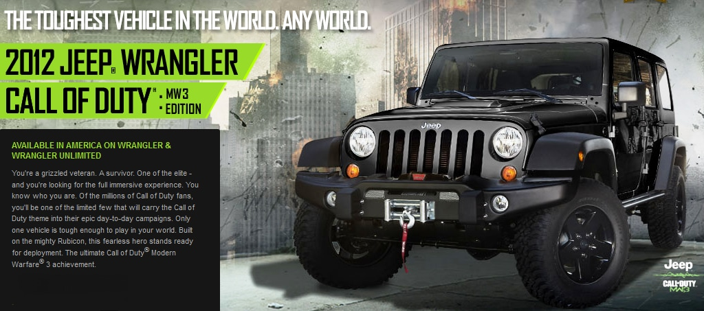 2012 Jeep Wrangler Call of Duty Black Ops COD MW3 Edition For