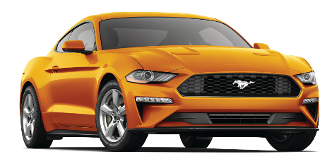An orange fury 2018 Ford Mustang