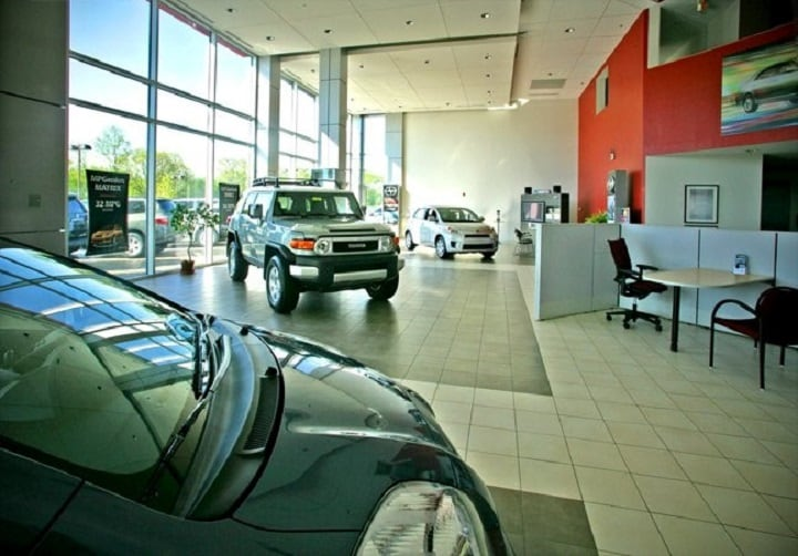 showroom inside Colonial Toyota Scion of Smithfield RI