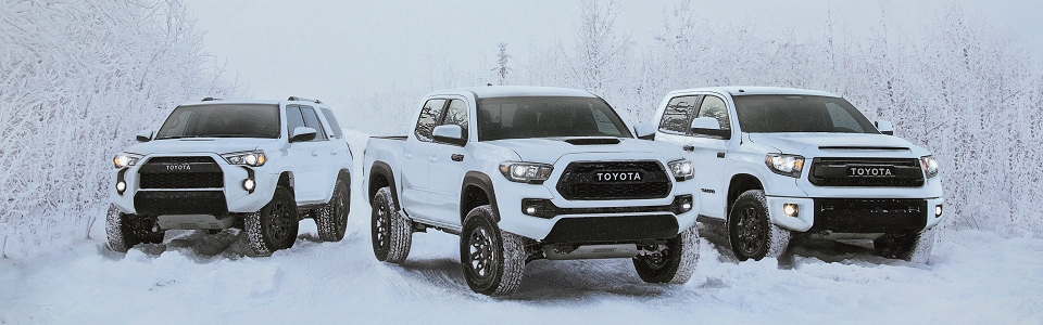 2017 Toyota SUVs and trucks in snow