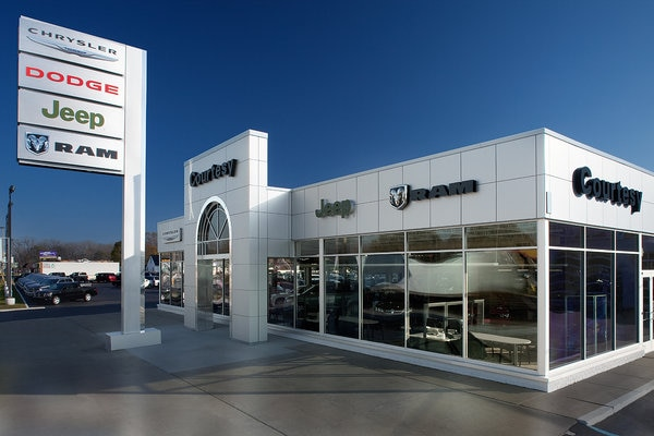 Exterior of Courtesy CDJR Dealership in Grand Rapids, MI