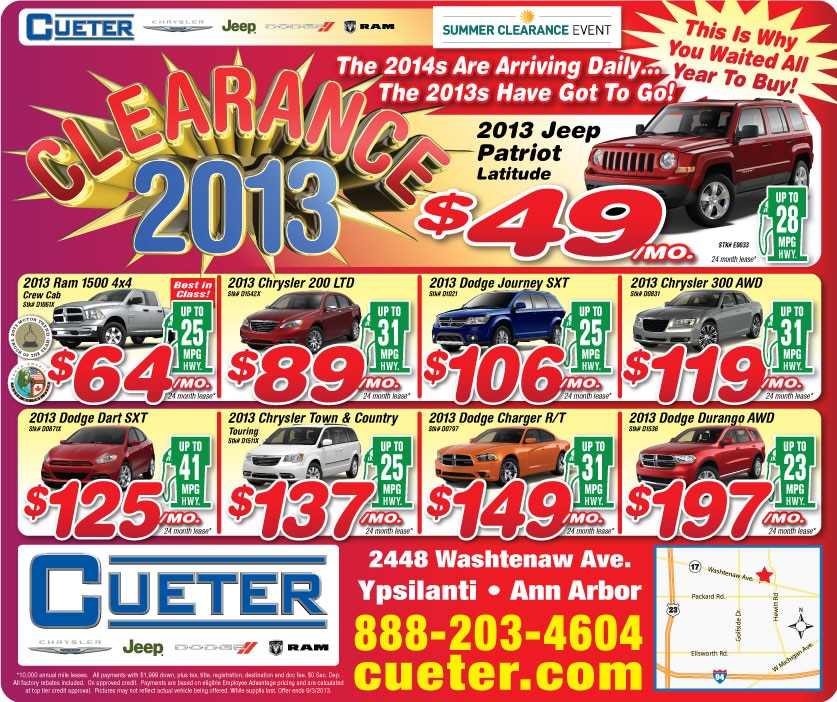 Cueter Chrysler Jeep Dodge Ram | AUGUST CLEARANCE SALE