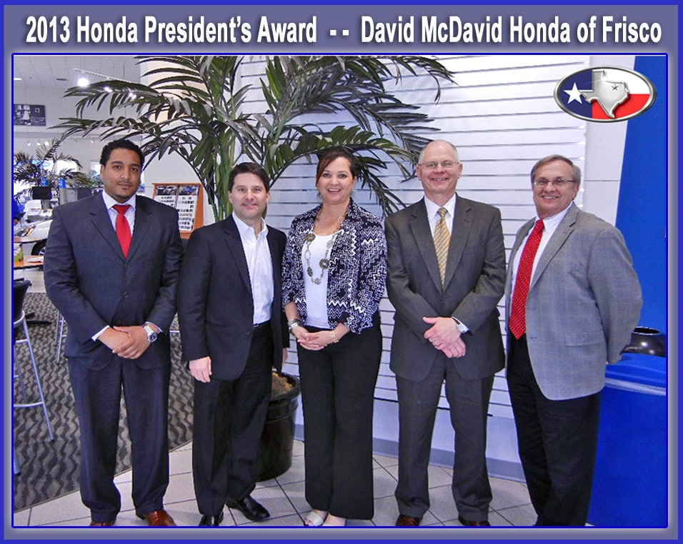 David mcdavid honda frisco honda president s award winner for Honda frisco service